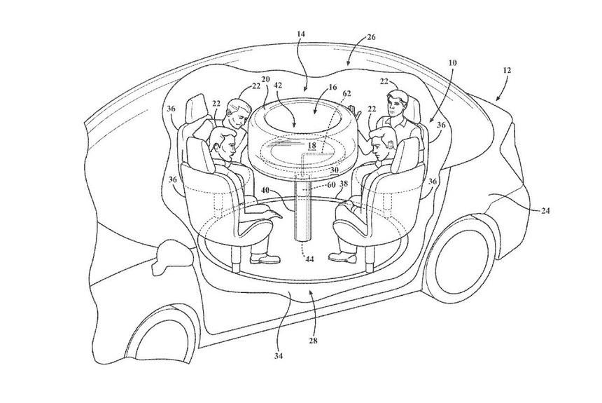 Форд запатентовал дизайн скруглым столом для машин савтопилотом
