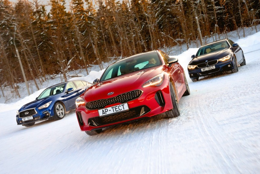 Сломать систему: Kia Stinger против BMW 430i xDrive Gran Coupe и Infiniti Q50