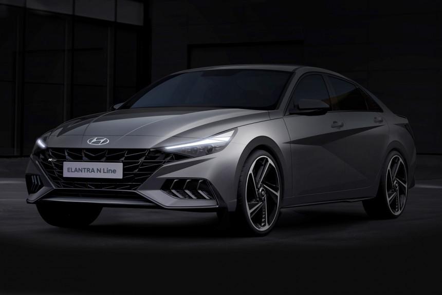 Мощный седан Hyundai Elantra N Line: первые изображения