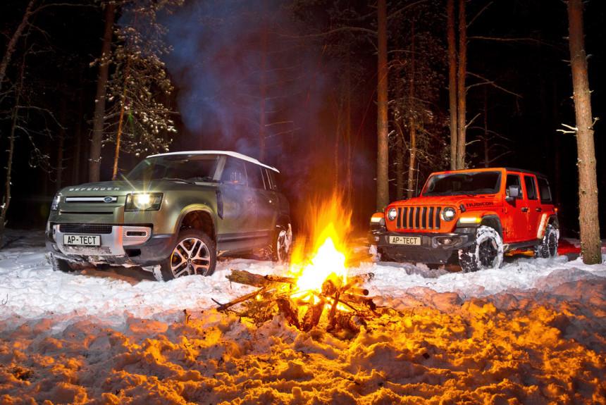 Розжиг: Land Rover Defender без мостов и рамы или классический Jeep Wrangler Rubicon?