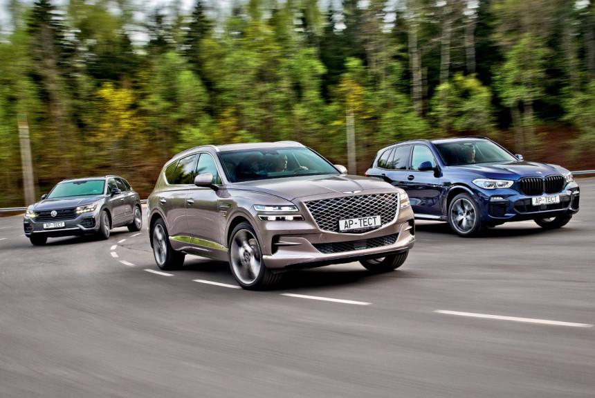 Дизельные Genesis GV80, BMW X5 и Volkswagen Touareg: как едут и как тормозят в обычном и автоматическом режиме?