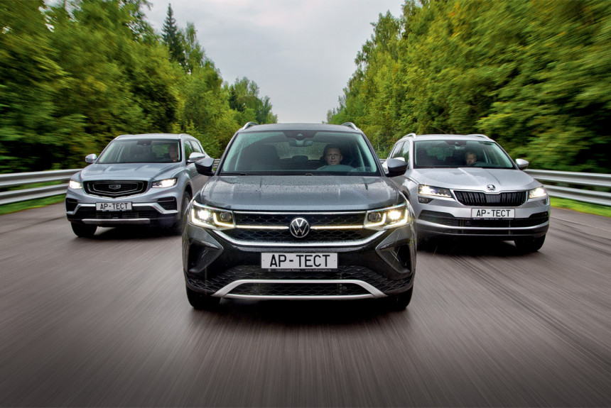 Volkswagen Taos и Skoda Karoq на фоне гибридного кроссовера Geely Atlas Pro — икра нюансов!