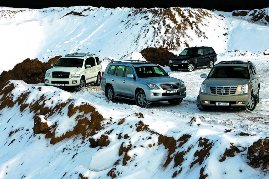 Zoom in! Lexus LX 570, Cadillac Escalade, Infiniti QX56 или Range Rover 4.2 Supercharged?