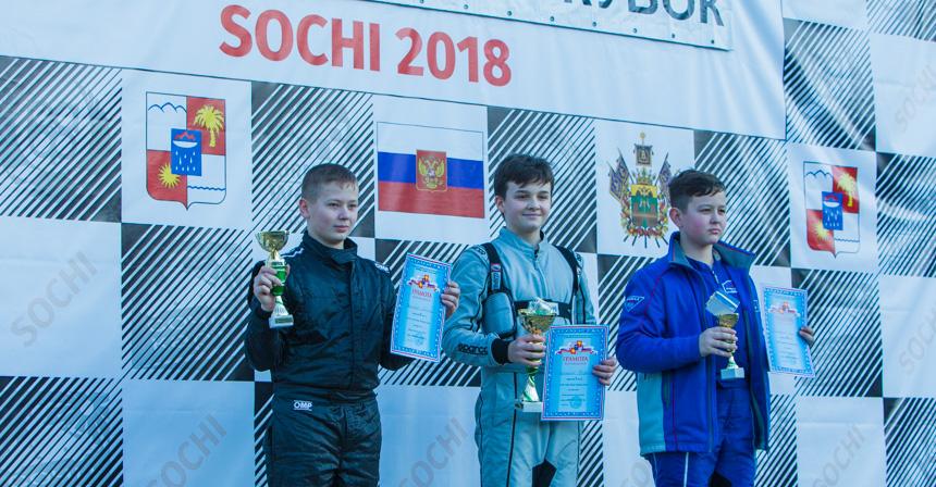 Награждение класса Rotax Max Junior (слева — направо): Денис Николаев, Богдан Корчинский, Карим Гильманов