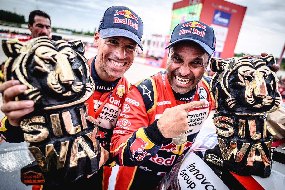 Сбылась заветная мечта Насера Аль-Аттийи (справа) и Матье Бомеля: после нескольких неудач они наконец-то выиграли Silk Way Rally
