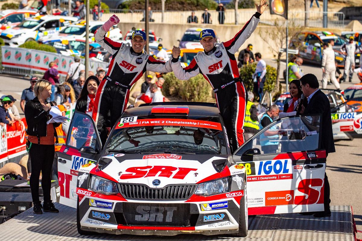 После подиума на Корсике Николай Грязин и Ярослав Федоров вышли на второе место в общем зачете WRC 2