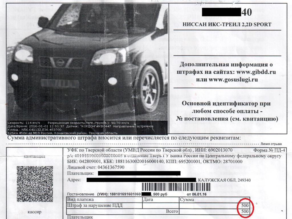 превышение скорости штраф 500 рублей за что счел