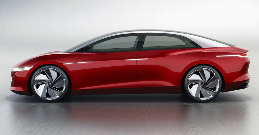 Большой седан Volkswagen I.D. Vizzion: без руля, педалей и кнопок
