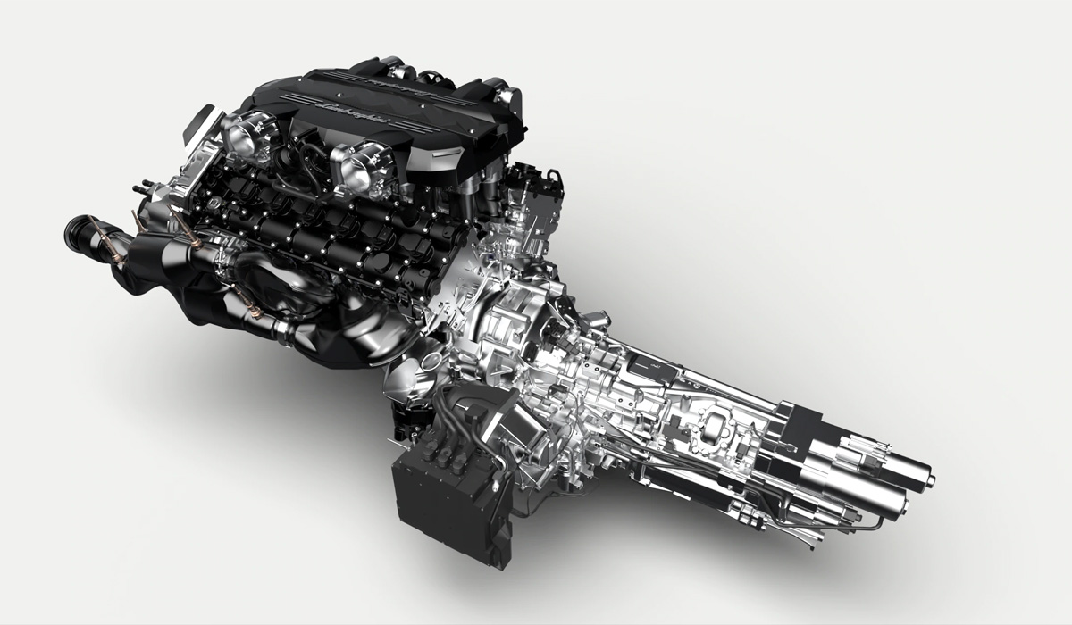 It is based on the production model Aventador SVJ, which got the chassis and all-wheel drive transmission with a Haldex clutch on the front axle. Atmospheric V12 6.5 with distributed injection is also almost serial and produces 785 HP and 720 Nm. And the ISR (Independent Shifting Rods) single-clutch robotic transmission has a modest electric motor that runs at 48 volts and develops just 34 HP and 38 Nm. The unit's peak power is 819 HP.