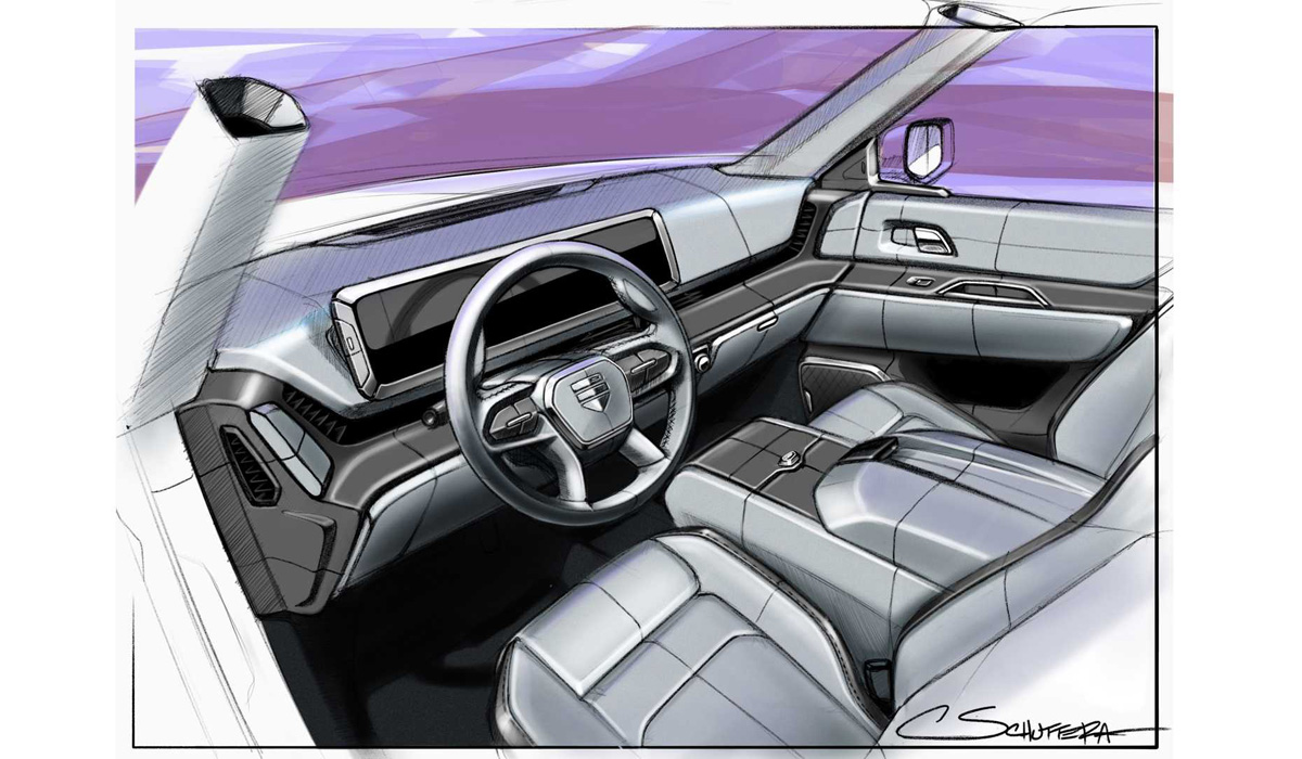 The interior is only shown as a sketch. But the starting price has long been known: 52500 dollars without subsidies. For comparison, prices for the vanguard Tesla Cybertruck pickup start at $ 39900, and the base version