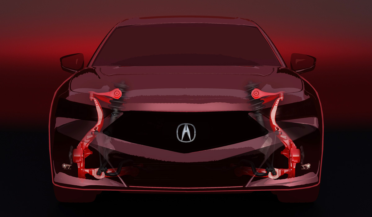 The transition from the transverse arrangement of the engine and front-wheel drive to the classic layout did not happen, but still for the TLX sedan, a new original platform was developed, the main feature of which is the front suspension on double wishbones instead of McPherson struts.
