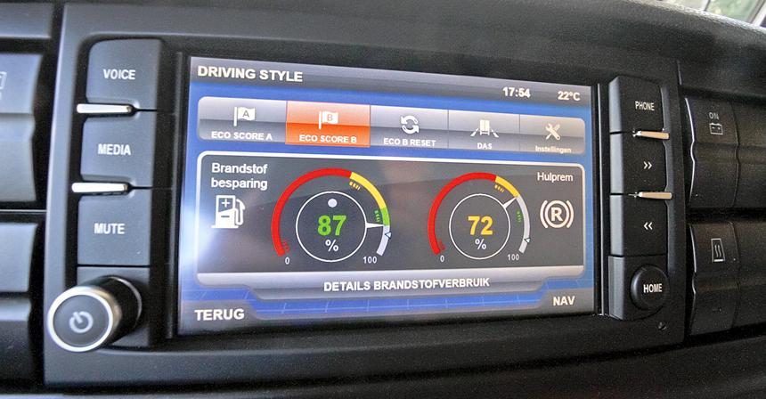 На центральный сенсорный экран можно вывести оценки за вождение