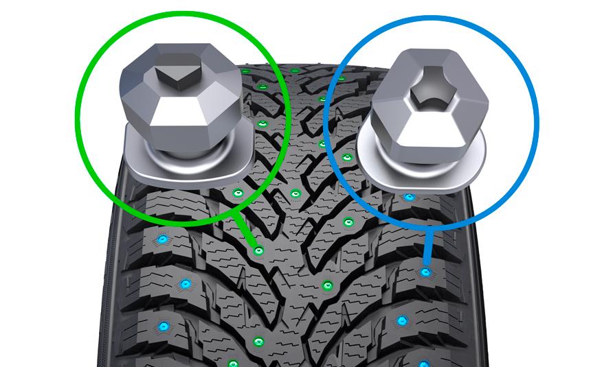 Шипы с плоской вставкой отвечают за продольные сцепные свойства и расположены в средней части протектора, а на благо управляемости работают боковые шипы с «треугольной» вставкой