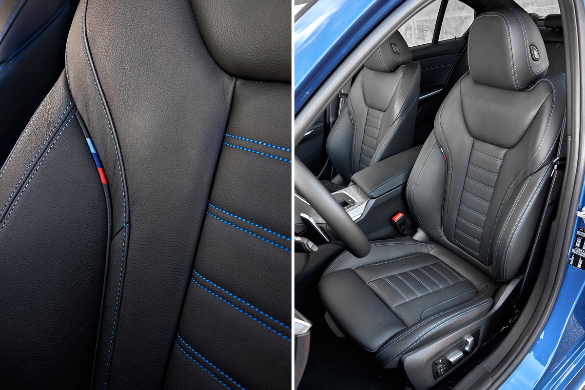 Фирменным М-триколором украшены не только спортивные кресла, но и ремни безопасности. Как бы дизайнерам не изменило чувство меры