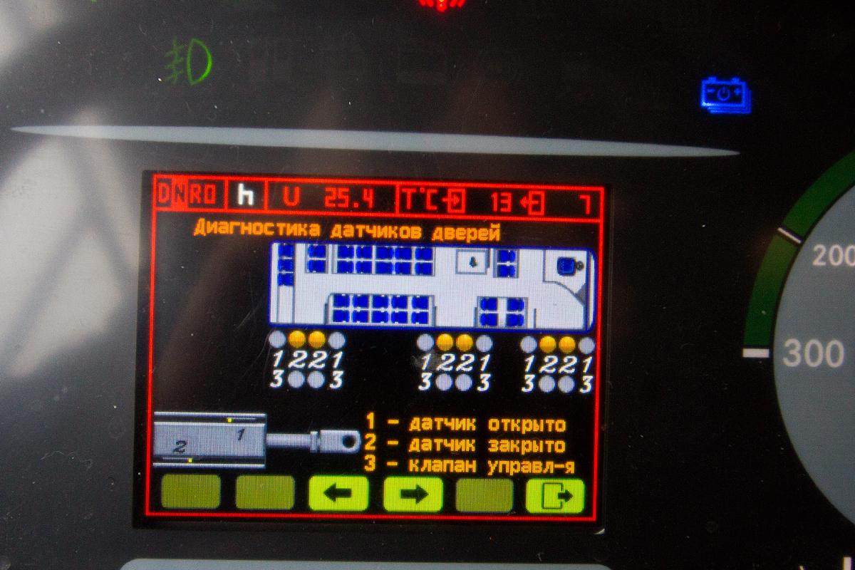 На щиток приборов можно вывести, например, информацию о датчиках дверей...