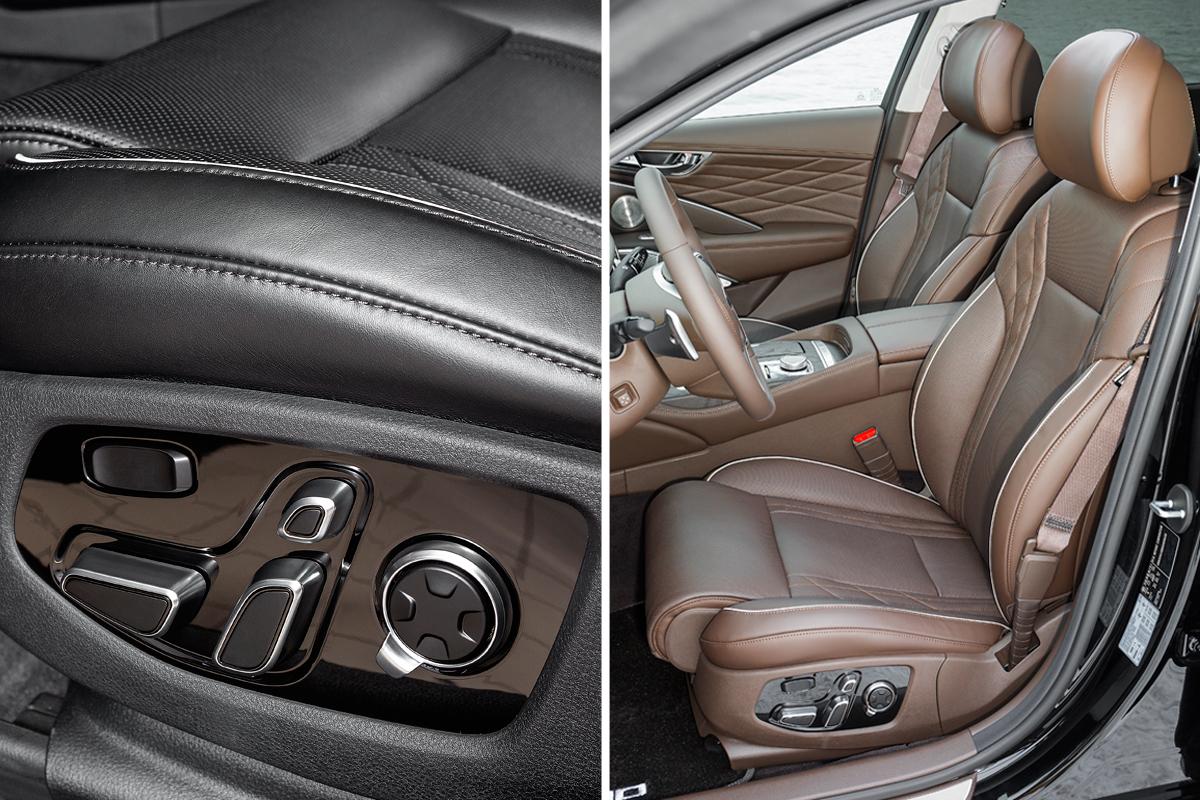 Передние кресла — с обогревом, вентиляцией и широким выбором электрических регулировок. У водителя настраивается боковая поддержка: при включении режима Sport валики автоматически поджимаются в области талии
