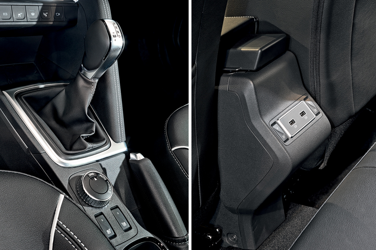 """• The driver's area of the Central tunnel is separated from the passenger by a """"fence"""". The key card slot has disappeared from the console, and the buttons in front of the selector are responsible for Eco mode, ESP, windscreen heating, Parking sensors, and all-round vision • * On the Arcana, you can order either USB for rear passengers or sofa heating, and Capture offers both"""